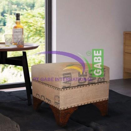 STOOL SQUARE BURLAP WITH BOX