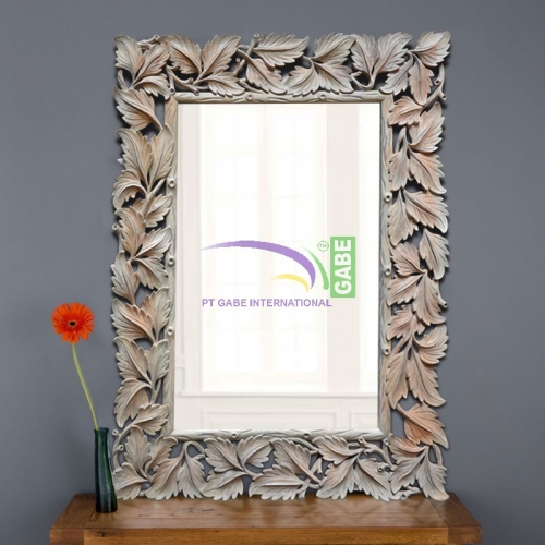 MIRROR WITH CARVING FRAME LEAF
