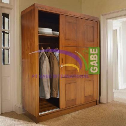 Teak Wood Wardrobe Cabinet Sliding 3 Door