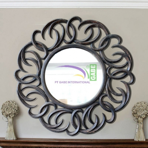 MIRROR WITH CARVING FRAME CIRCLE ANTIQUE