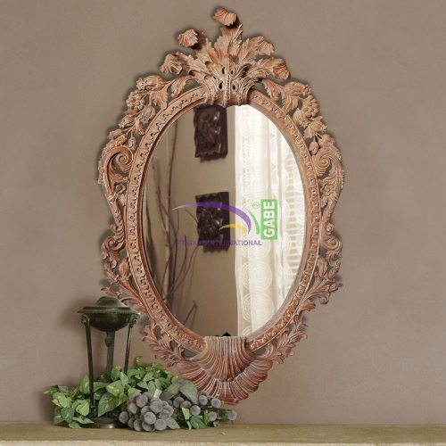 MIRROR WITH CARVING FRAME OVAL SHELL