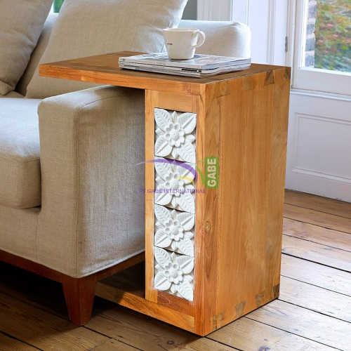 SIDE TABLE WITH STONE CARVED TEAK WOOD