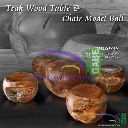 Teak wood table and Chair model Ball
